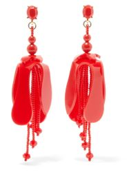 Oscar de la Renta - Red Orchid Beaded Acetate Earrings - Lyst