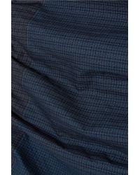 Stella McCartney - Blue Jersey-paneled Checked Cotton Midi Skirt - Lyst