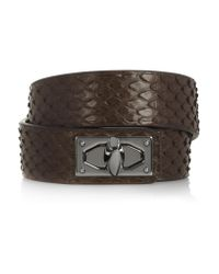 Givenchy - Brown Shark Lock Bracelet In Python And Gunmetal-tone Brass - Lyst