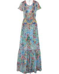 Matthew Williamson - Blue Deia Fiesta Embroidered Printed Silk-chiffon Maxi Dress - Lyst