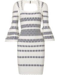 Hervé Léger - White Stretch Jacquard-knit Dress - Lyst