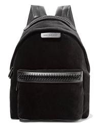 Stella McCartney | Black The Falabella Go Faux Leather-trimmed Velvet Backpack | Lyst