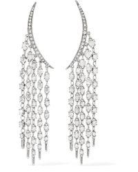Oscar de la Renta - Metallic Tendril Silver-tone Crystal Earrings - Lyst