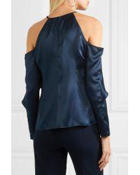 Cushnie et Ochs - Blue Florence Cold-shoulder Silk-satin Top - Lyst