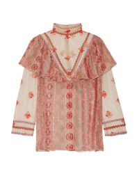 Anna Sui | Pink Printed Metallic Fil Coupé Chiffon And Embroidered Tulle Blouse | Lyst