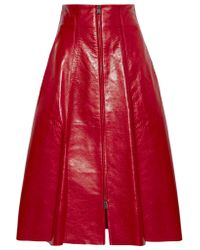 Fendi - Red Leather Midi Skirt - Lyst
