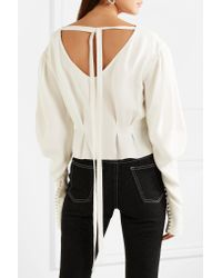 Magda Butrym | White Lucena Embellished Silk Crepe De Chine Blouse | Lyst