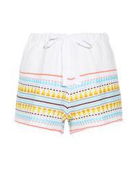 Lemlem - Blue Tabtab Striped Cotton-blend Gauze Shorts - Lyst
