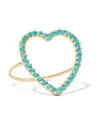 Jennifer Meyer - Metallic Open Heart 18-karat Gold Turquoise Ring - Lyst