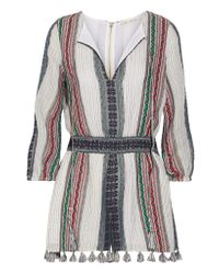 Alice + Olivia - Blue Nance Tassel-trimmed Embroidered Cotton-gauze Playsuit - Lyst