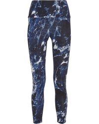 Norma Kamali | Blue Printed Stretch-jersey Leggings | Lyst