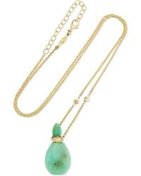 Jacquie Aiche - Metallic 14-karat Gold, Chrysoprase And Diamond Necklace - Lyst