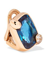 Pomellato | Blue Ritratto 18-karat Rose Gold, Topaz And Diamond Clip Earrings | Lyst