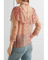 Anna Sui - Pink Printed Metallic Fil Coupé Chiffon And Embroidered Tulle Blouse - Lyst