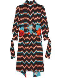MSGM | Black Mixed Chevron Mock Neck Dress | Lyst