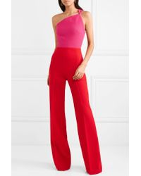 Roland Mouret - Red Truro One-shoulder Two-tone Wool-crepe Jumpsuit - Lyst