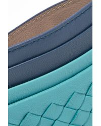Bottega Veneta - Blue Intrecciato Leather Cardholder - Lyst