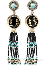 Etro - Black Embellished Gold-plated Earrings - Lyst