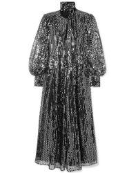 MSGM - Metallic Sequined Chiffon Maxi Dress - Lyst