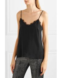 Anine Bing - Black Lace-trimmed Washed-silk Camisole - Lyst