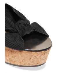 Jimmy Choo - Black Norah Knotted Canvas Wedge Sandals - Lyst