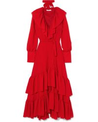 Rejina Pyo - Renata Tiered Crinkled-crepe Maxi Dress Red Uk14 - Lyst