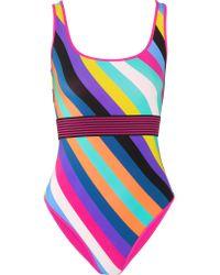 Diane von Furstenberg - Purple Belted Striped Swimsuit - Lyst