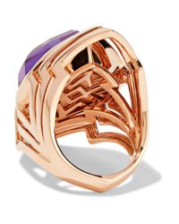 Stephen Webster - Purple Lady Stardust 18-karat Rose Gold, Amethyst And Mother-of-pearl Ring - Lyst