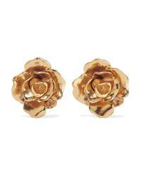 Oscar de la Renta - Metallic Rosette Gold-tone Clip Earrings - Lyst