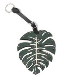 Valentino - Green Studded Leather Keychain - Lyst