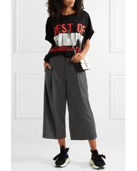 McQ Alexander McQueen - Gray Cropped Prince Of Wales Checked Wool Wide-leg Pants - Lyst