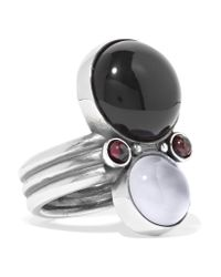 Bottega Veneta | Metallic Silver, Onyx And Chalcedony Ring | Lyst