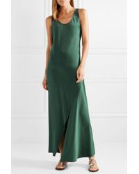Theory - Green Cutout Satin Maxi Dress - Lyst