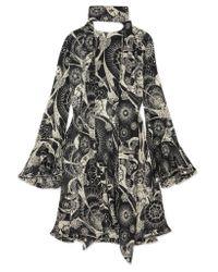 Chloé - Black Printed Cotton And Silk-blend Crepon Mini Dress - Lyst