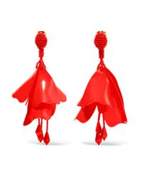 Oscar de la Renta | Red Large Impatiens Resin Clip Earrings | Lyst