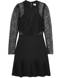 Rebecca Vallance - Black Gabriella Flocked Lace And Crepe Mini Dress - Lyst