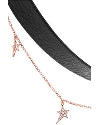 Diane Kordas - Metallic 18-karat Rose Gold, Leather And Diamond Choker - Lyst