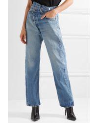 R13 - Blue Crossover Asymmetric High-rise Straight-leg Jeans - Lyst