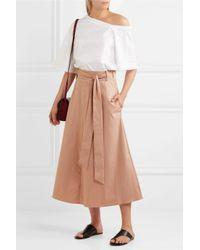 Tibi - Natural Cotton-poplin Wrap Skirt - Lyst