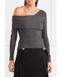Beaufille - Gray Loretta Asymmetric Ribbed Stretch-knit Top - Lyst