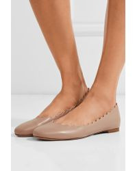 Chloé - Multicolor Lauren Scalloped Leather Ballet Flats - Lyst