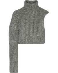 Michael Kors - Gray One-shoulder Cropped Wool And Mohair-blend Turtleneck Sweater - Lyst