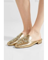 MICHAEL Michael Kors | Edie Embellished Metallic Snake-effect Leather Slippers | Lyst