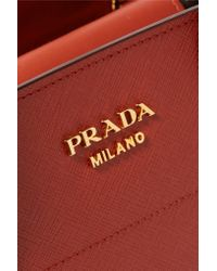 Prada - Bibliotheque Textured-Leather Tote - Lyst