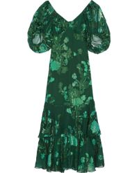 Anna Sui | Green Ruffled Fil Coupé Silk-blend Chiffon Midi Dress | Lyst