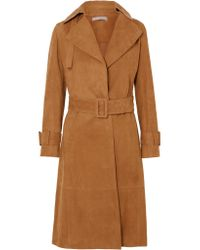 Vince - Brown Suede Trench Coat - Lyst