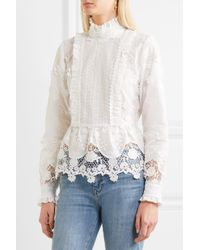 Anna Sui - White Daisy Fields Silk-blend And Broderie Anglaise Cotton Blouse - Lyst