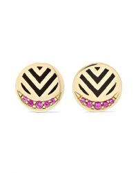 Alice Cicolini - Metallic Memphis Chevron 14-karat Gold, Ruby And Enamel Earrings - Lyst