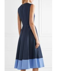 Roksanda - Blue Athena Pleated Two-tone Crepe Midi Dress - Lyst