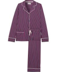 DKNY - Purple New Classic Striped Cotton-blend Jersey Pajamas - Lyst